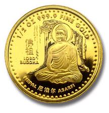 2002 Nepal Lord Buddha 1/2 oz. Gold Proof. Issued by Nepal, the birthplace of Lord Buddha. Scarce, only 2,500 made. Precious metal content is half oz. of pure (9999 fine) gold. Features Lord Buddha in meditation under a Bodhi tree.