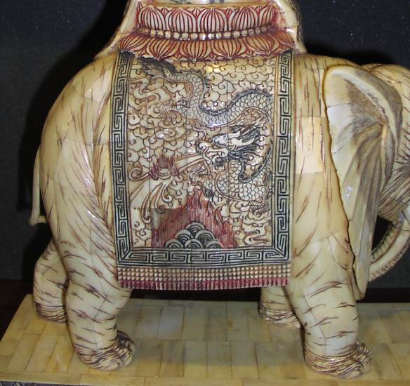 closeup of the elephant and dragon cape from the rear