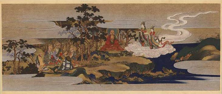 Original Japanese Woodblock Print from late 1800's depicting Buddha seated in meditation - Click for detail closeup