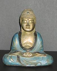 Japanese Solid Metal vintage buddha bookend - matched set probably Armor Bronze Company of NYC (6 in. tall)