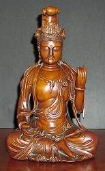 Beautifully carved Boxwood Kwanyin  (11.5 in. tall) - contemporary