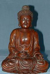 Chinese carved boxwood Buddha (9 in. tall) - Qing Dynasty
