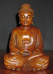 Fine vintage carved boxwood Buddha (10 in. tall)