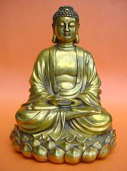 Vintage Chinese solid brass Buddha (10 in. tall)