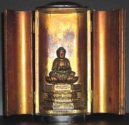 Ancient Japanese gilt Wood Carved Buddha in travel shrine or Zushi - Edo Period (18th C)