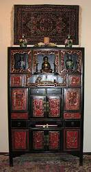 Antique Chinese antique Buddha cabinet (5.5' tall)