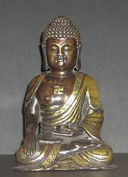 Chinese Bronze Buddha on lotus throne with beautiful gilt cape (6 in. tall)