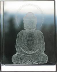 Laser cut Buddha inside 4 inch block of solid lead crystal using state of the art Russian computerized technologies