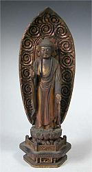Japanese Amida Nyorai Buddha  - gilt carved wood - (13 in. tall) Edo period 18th century