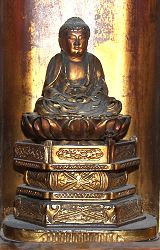 Japanese Buddha - gilt carved wood - in zushi or travelling shrine - gilt carved wood - (8 in. tall) Edo period 18th century