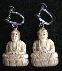 Ivory Buddha earrings - 20th C