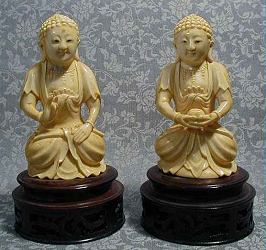 Extremely fine Mio-thmng Style ivory buddhas (5 in. tall) - 19th C