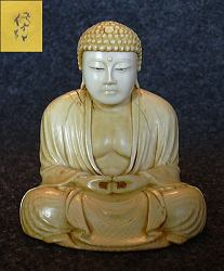 Japanese ivory Buddha - 19th C  signed by the artist - finest Museum masterpiece (2.7 in. tall)  with incredible detail - early 19th C