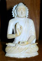 Old rare Cambodian ivory Buddha (3 in. tall) seated in discussion posture or vitarka mudra - late 19th C