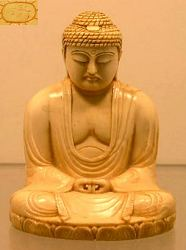 Japanese ivory Buddha (3 in. tall) late 19th C  signed by the artist