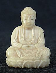 Ivory - tiny Japanese Buddha (1 in. tall)  with incredible detail - early 20th C