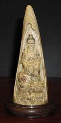 Elephant Ivory vintage Kwanyin  masterpiece - (8 in. tall)