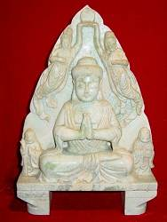 White Jade Buddha with Guan Yin & Monks (14 in. tall) - Chinese Song Dynasty
