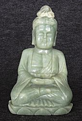Contemporary genuine Jadeite Jade Buddha (8.75 in. tall)