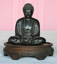 Japanese Buddha in the image of the Great Buddha of Kamakura, Japan  - solid bronze,  fine patina (6 in. tall) - meiji period