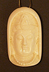 Elephant Ivory Kwanyin pendant - female Boddhisattva - 20th C