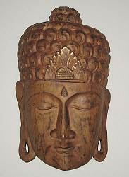 Buddha mask - contemporary wood carving with gold gilding SE Asia  (20 in. tall)