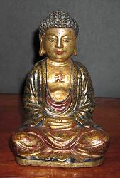 Chinese Buddha - fine painting and gilt work  (9.5 in. tall) - Qing Dynasty 19th C bronze