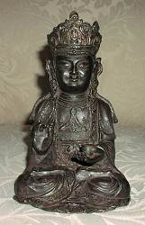 Chinese Bronze with Headdress (7 in. tall) - Qing Dynasty