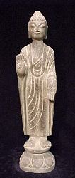 Cambodia/Laos standing stone Buddha (15 in. tall) - nearly matched set - 16th C