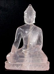 Contemporary Thai 155 ct Rose Quartz carved Buddha (2.2 in. tall)