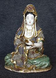 Japanese Satsuma Kannon (Kwan Yin) (11 in. tall) - 19th C