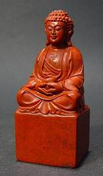 Shoushan Stone Seal Chop with Buddha (3 in. tall) - 19th C