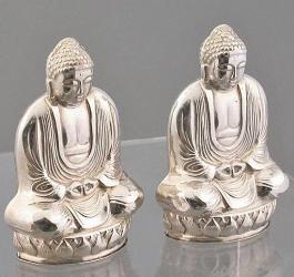 Vintage sterling silver salt and pepper shakers - finely detailed buddha images (2 in. tall)