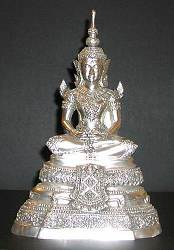 Contemporary Ornate Silver-plated Bronze Thai Buddha (11.5 in. tall)