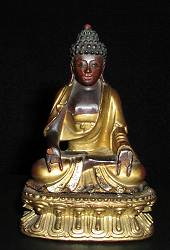 Gilt wood carved Buddha (4.5 in. tall) - 19th C