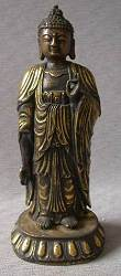 Chinese standing Bronze Buddha (11.5 in. tall) - Qing Dynasty