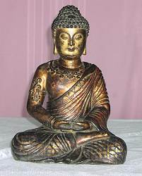 Tibetan Buddha with heavy gilt work - large bronze (15 in. tall) - early 19th C