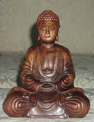 Fine Contemporary Vietnamese carved Huong wood Buddha (11 in. tall)